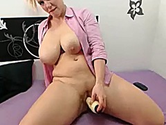 Hot blonde whore with big tits toying...